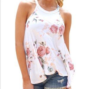 Women High Neck Floral  Sleeveless T-shirt Tank